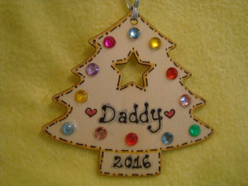 Personalised Wooden Christmas Tree Shaped Hanger with gem Decorations Any Name